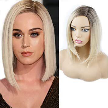 Wig Cap M-Egal Women Short Straight Blonde Cosplay Party Ladys Wigs