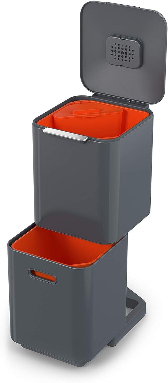 Joseph Joseph Intelligent Totem Compact 40-Litre Waste Separation & Recycling Unit-Graphite, 40 Liter/10.6 Gallon