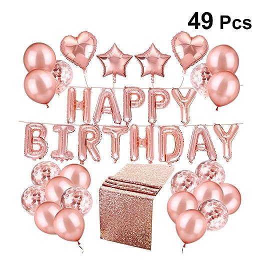 Amosfun Globos de feliz cumpleaños, globos de látex de oro ...
