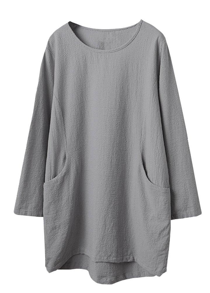 Minibee Women's Cotton Linen 4/5 Sleeve Tunic/Top Tees (2XL, Gray)