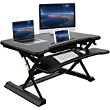 Standing Desk Converter, Ansteker 35'' (88cm) Height Adjustable Stand Up Desk Riser with Keyboard Tray and Drawer , Ergonomic Sit Stand Workstation