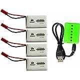 4個セット Noiposi 3.7v 750mah 25c リポ バッテリー+6点マルチ充電器 変換アダプターケーブルX4個 適用機種MJX X400 X800 X300C MJX RC Drone