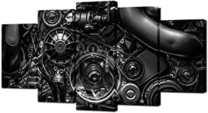 VVOVV Wall Decor - 5 Piece Canvas Prints Engine Engineering Closeup Gear And Chain Black And White Photos Wall Art Modern Home Decor Stretched and Framed Ready to Hang(60inchx32inch)