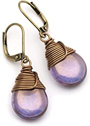 Lustrous Purple Czech Glass Wire-wrapped Drop Bronze Lever-back Earrings 1.4 Inches