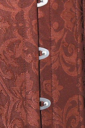 Charmian Women's Spiral Steel Boned Overbust Long Torso Body Shaper Corset Marrón