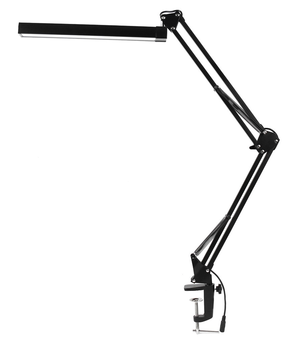 LED Desk Lamp with Clamp - KANARS Premium Aluminum Swing Arm Drafting Table Lamp Bright - 740 LM - 3 Level Dimmer - Warm/White Light - Touch Control - Highly Adjustable - 7.4W - Black