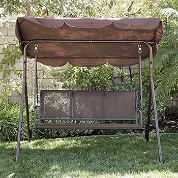 Belleze Porch Swing Glider Outdoor Chair Top Tilt UV Resistant Shade Steel Frame 3 Seater Adjustable Sunshade Dark Brown