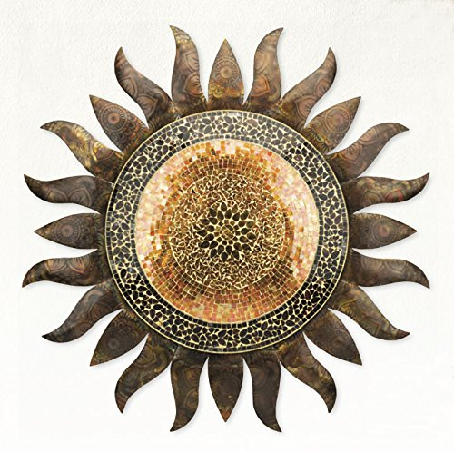 Price comparison product image Wonders Shop Outdoor / Indoor Accent Metal / Glass Golden Sun Decorative Wall Art For Garden 36 inch