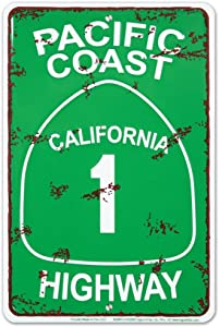 Pacific Coast Highway Tin Sign 8 x 12in