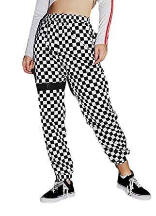35d05287b0 Jotebriyo Women s Checkerboard Slim Fit Casual Elastic Waist Jogger Pants  Trousers ...