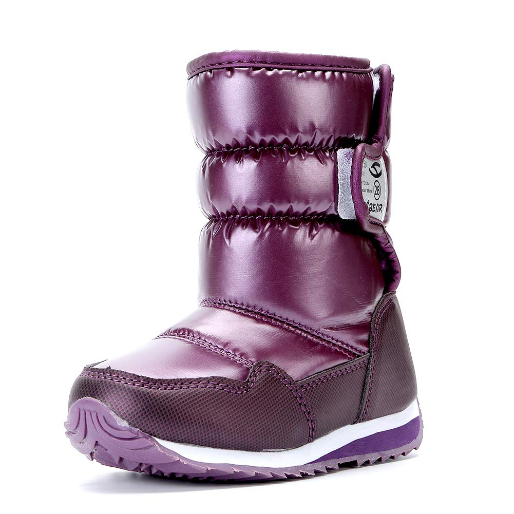 VECJUNIA Boys Girls Kids Winter Snow Boots Toddler/Little/Big Kids Anti-Slip Faux Fur Lined Cold Weather Shoes Purple