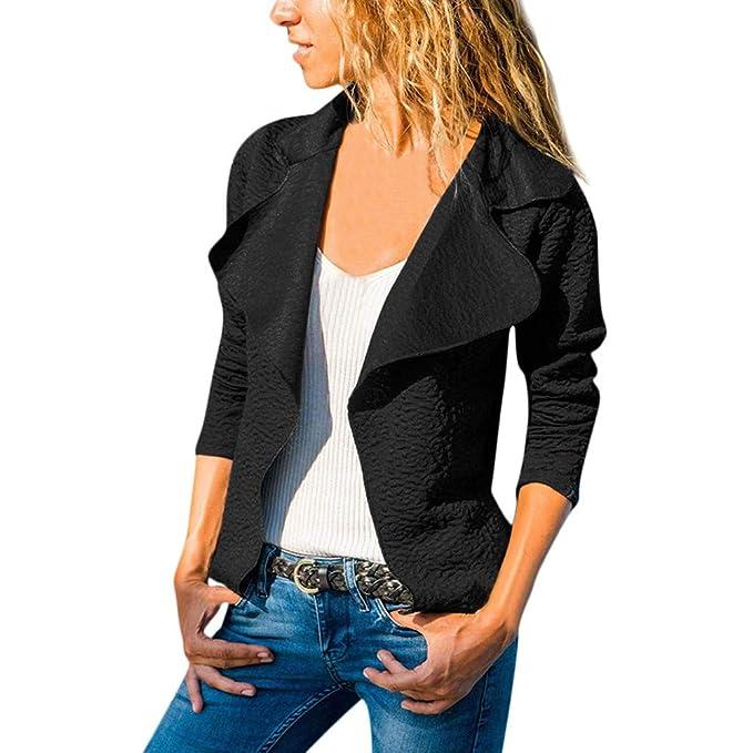 POLP Abrigos mujer Chaquetas Mangas largas Chaquetas de algodón Negro  Blazers Otoño Invierno para Mujer con 25881dd0988e