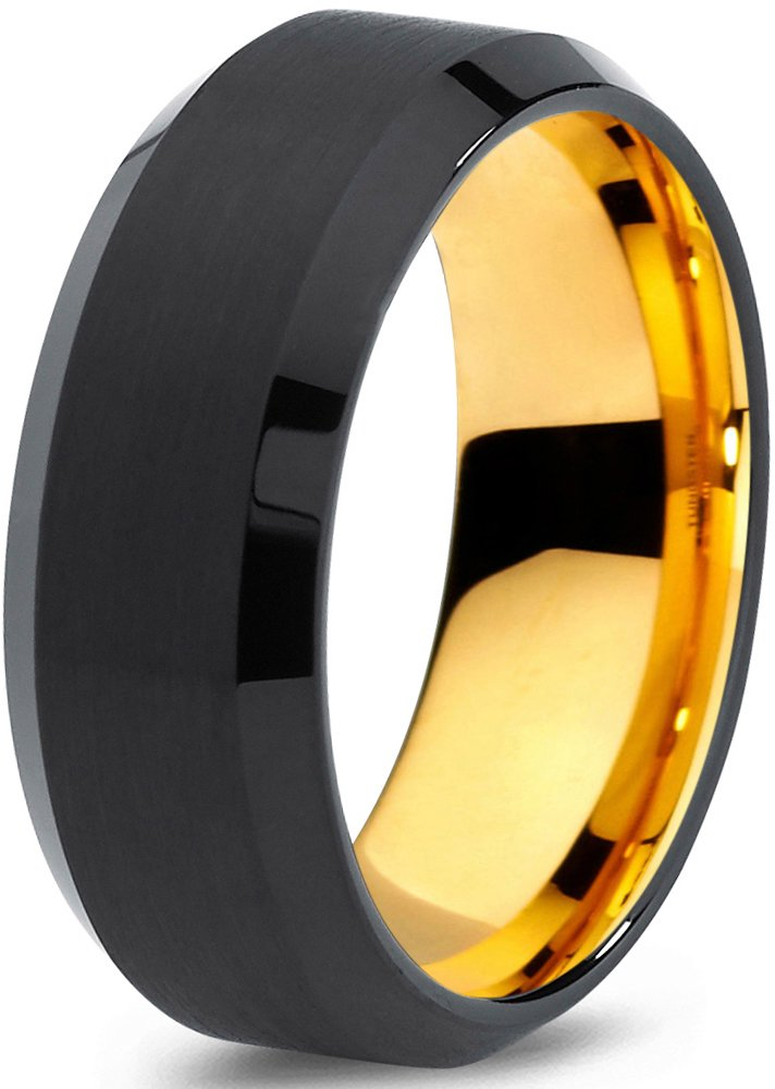 Midnight Rose Collection Tungsten Wedding Band Ring 8mm for Men Women Black & 18K Yellow Gold Plated Beveled Edge Brushed Polished