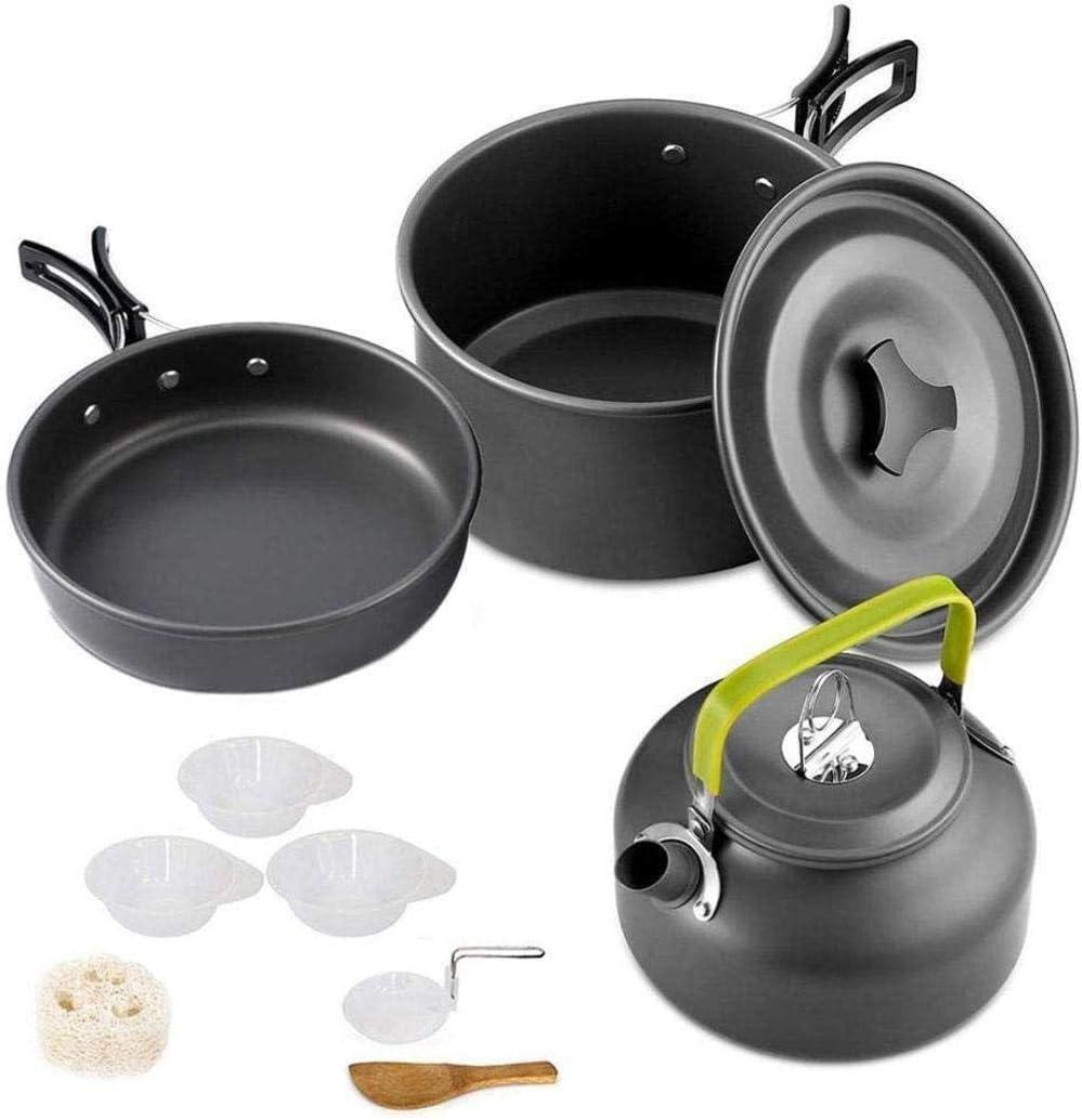 XHLLX Camping Utensilios De Cocina Conjunto De Aluminio Non-Stick Portátil Vajilla Vajilla Caldera Picnics Senderismo Pot
