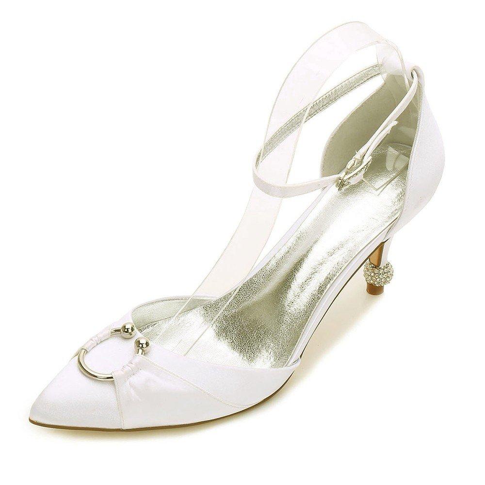 Zxstz damen Satin Heels Hochzeit Braut Brautjungfer Abend Party Prom Slip auf Enge Zehe Klassische Schuhe Pumpe