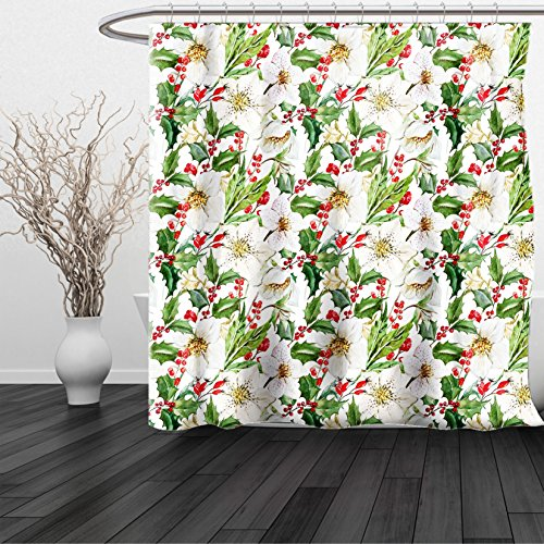 HAIXIA Shower Curtain Watercolor Christmas Themed Floral Poinsettia Winter Inspirations Berries Leaf Vermilion Green Yellow (Vermilion Wood Lighthouse)
