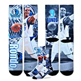 Officially licensed Dallas Mavericks mens sublimated crew socks featuring a print of Rajon Rondo.