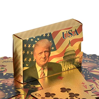 SW Donald Trump Playing Cards - Gold Plated Playing Cards Gold Plated Deck of Waterproof Poker Cards for Game for Table Games Good Gift for Friends, Men, Boyfriends: Sports & Outdoors