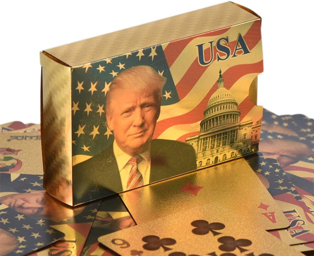 Donald Trump Playing Cards - Creative and Beautiful Gold Playing Cards Deck of Waterproof Poker Cards for Game for Table Games Good Trump Gift for Men,