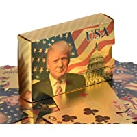 SW Donald Trump Playing Cards - Gold Plated Playing Cards Gold Plated Deck of Waterproof Poker Cards for Game for Table Games Good Gift for Friends, Men, Boyfriends