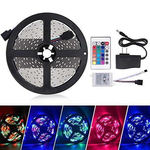 Sunnest 5M/16.4 Ft LED Flexible Light Strip, SMD 3528 RGB 300 LEDs, 12V DC Light Strips, Color Changing Led Strip Lights Kit+ 24 Key IR Remote Control+ Power Supply