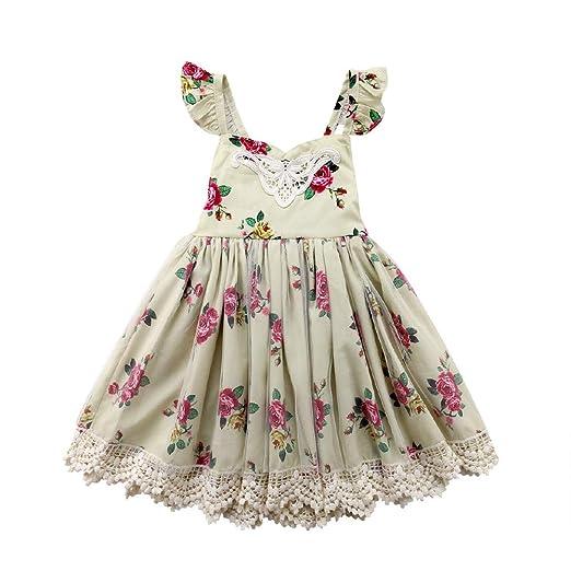 7c5c4ca0f581 Amazon.com  Kids Baby Girls Floral Tutu Dress Lace Tulle Flower ...
