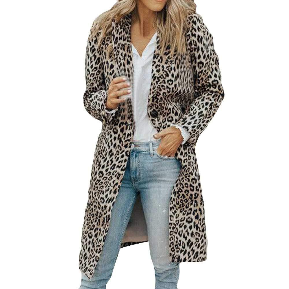 BaZhaHei Women's Leopard Print Long Thick Coat Autumn Winter Long Sleeve Jacket Fashion T Shirts Button Coat