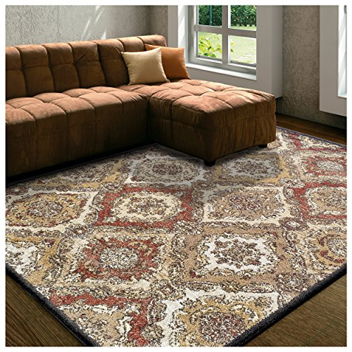 Flooring Terra Cotta Laminate (Superior Designer Hayden Area Rug Collection, Intricate Damask Ogee Pattern, 6mm Pile Height with Jute Backing, Affordable and Beautiful Rugs - 8' x 10', Cream)