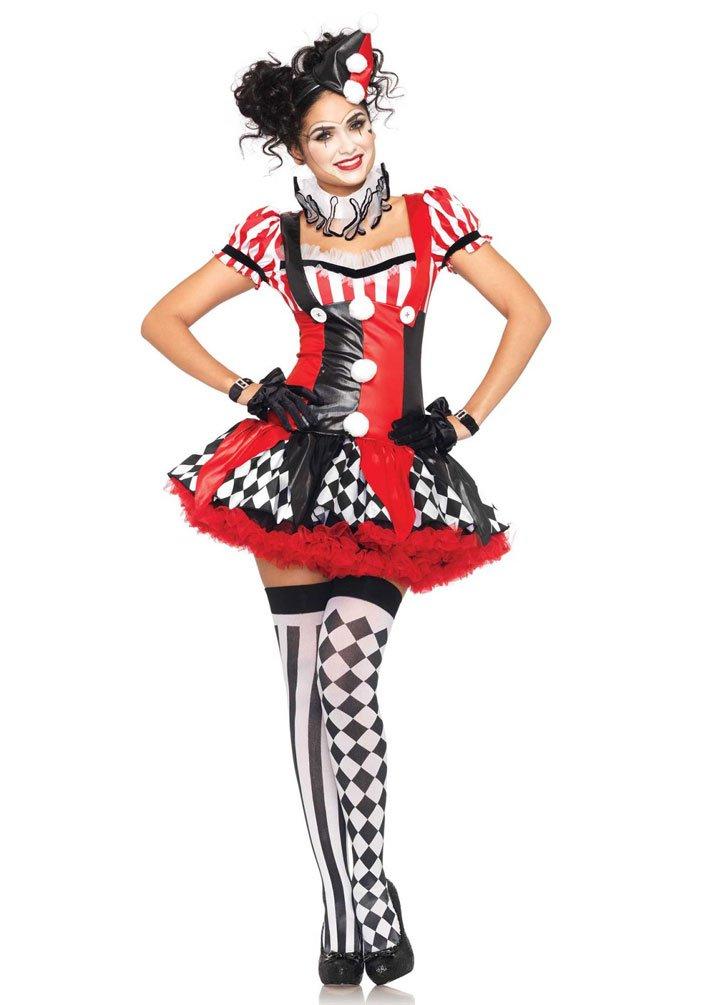 Karneval Klamotten Harlekin Clown Pierrot Frauen Damen-Kostüm sexy schwarz-weiß-rot Kleid, Halskrause inkl. Mini-Hut Größe 34/36