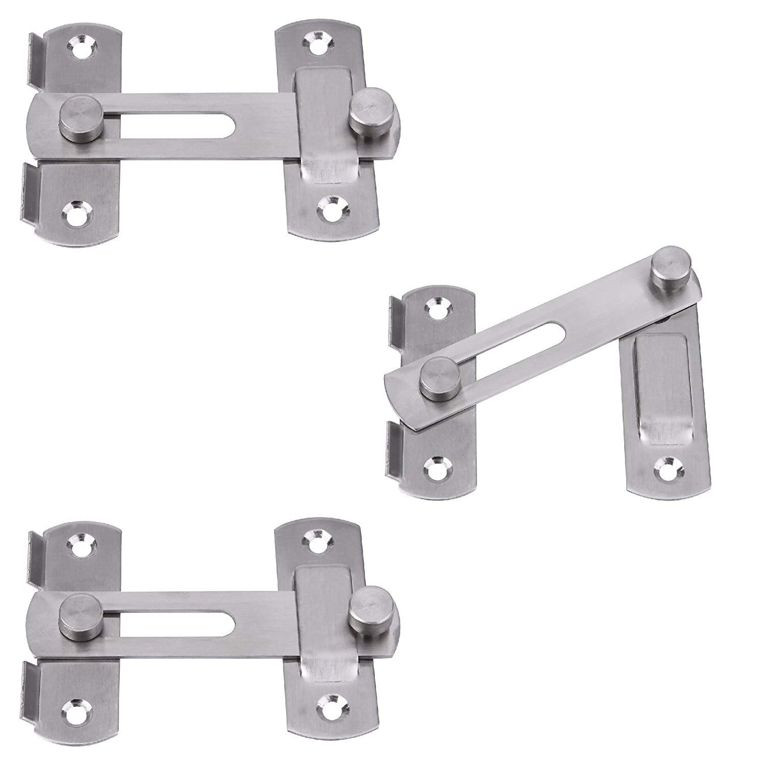 Creatyi 3 Pcs Stainless Steel Safety Door Latches,Window,Furniture,Pet Gate Lock