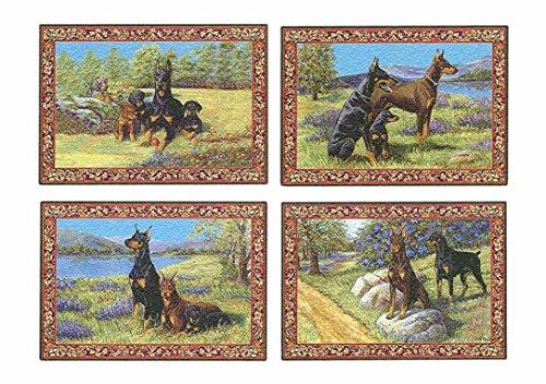 Doberman Pinscher Tapestry (Gone Doggin Doberman Pinscher Dog Placemat Set of Four – Tapestry Place Mats for Pet Lovers)