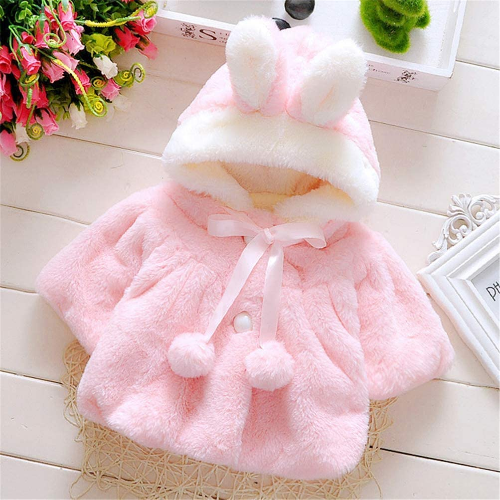 Handfly Baby Girls Coats,Baby Girl Faux Fur Hooded Cape Cloak Warm Winter Hoodie Coat for Baby Girls 0-36 Months
