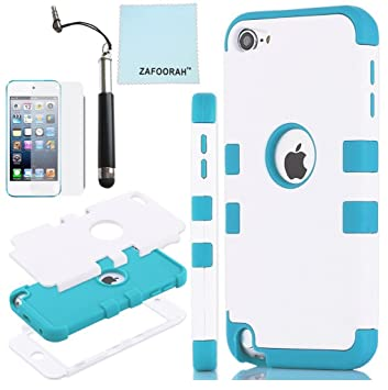 best sneakers 3b99a 34aaf ZAFOORAH Compatible for Apple iPod Touch 5th 6th Generation Case Cover  (iPod Touch 5/6) Genuine Hybrid Shockproof Hard Defender 3 Layers with 3  Bonus ...