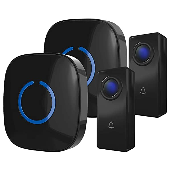 CROSSPOINT Expandable Wireless Doorbell Alert System, Multi-Unit Base Starter Kit includes 2 x Long Range Plug in Receivers and 2 x 100% Waterproof Transmitter Buttons, Model ECBase, Gloss Black (Color: BLACK, Tamaño: 1 x Base Set (2 Receivers + 2 Transmitters))