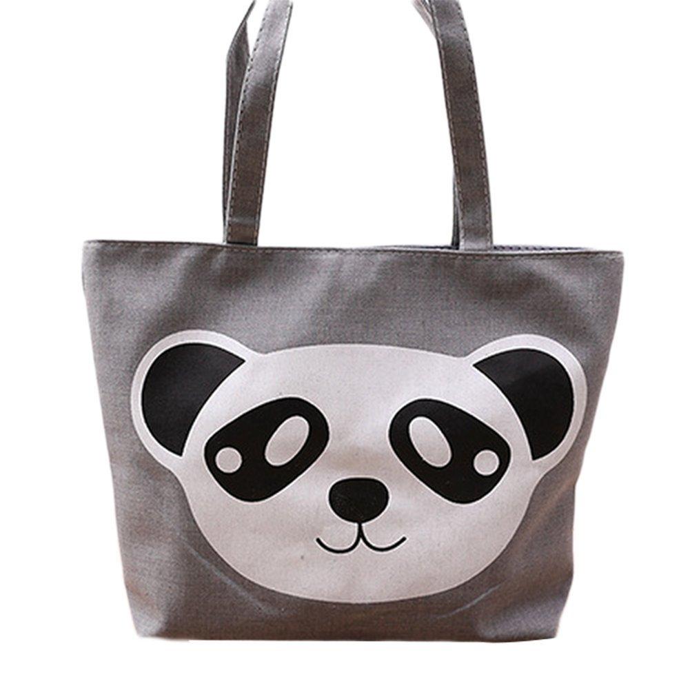 Da.Wa Articles de ménage Gris Panda mignon Motif Toile Matériel Portable Sac de toile Eco Shopping Bag