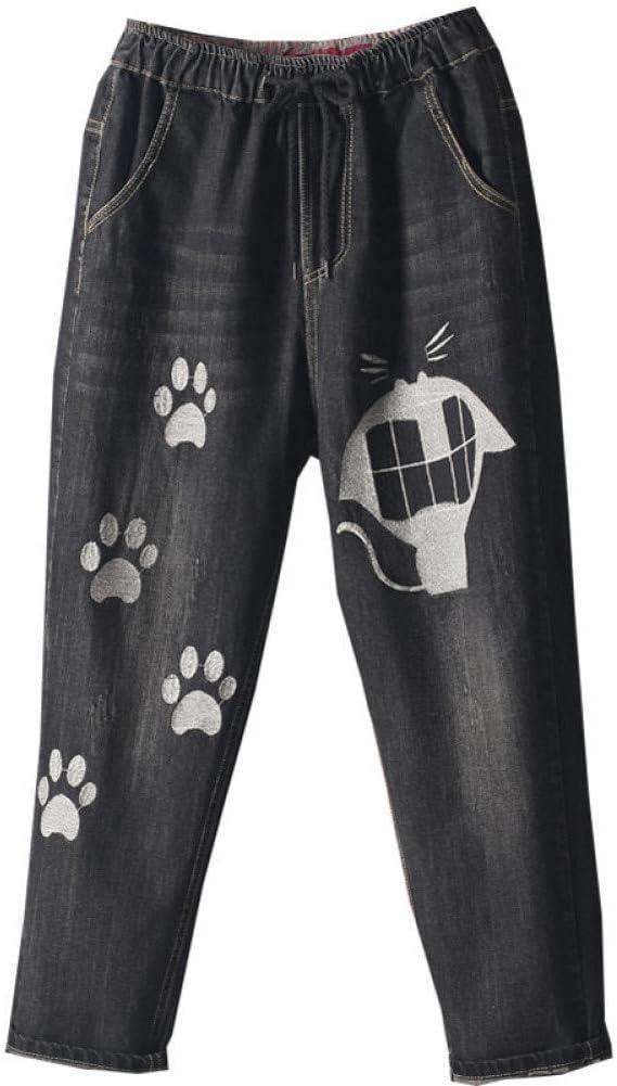KBCJUA Mode Jeans Jeans mit weitem Bein Knöchellange lässige gebleichte Jeans Cartoon Stickerei Jeanshose Damen Haremshose Schlanke elastische Taille Black