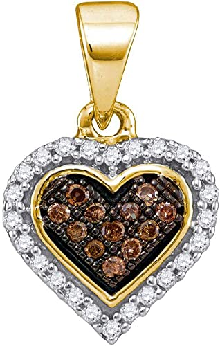 10kt Yellow Gold Womens Round Cognac-brown Colored Diamond Heart Cluster Pendant 1//8 Cttw