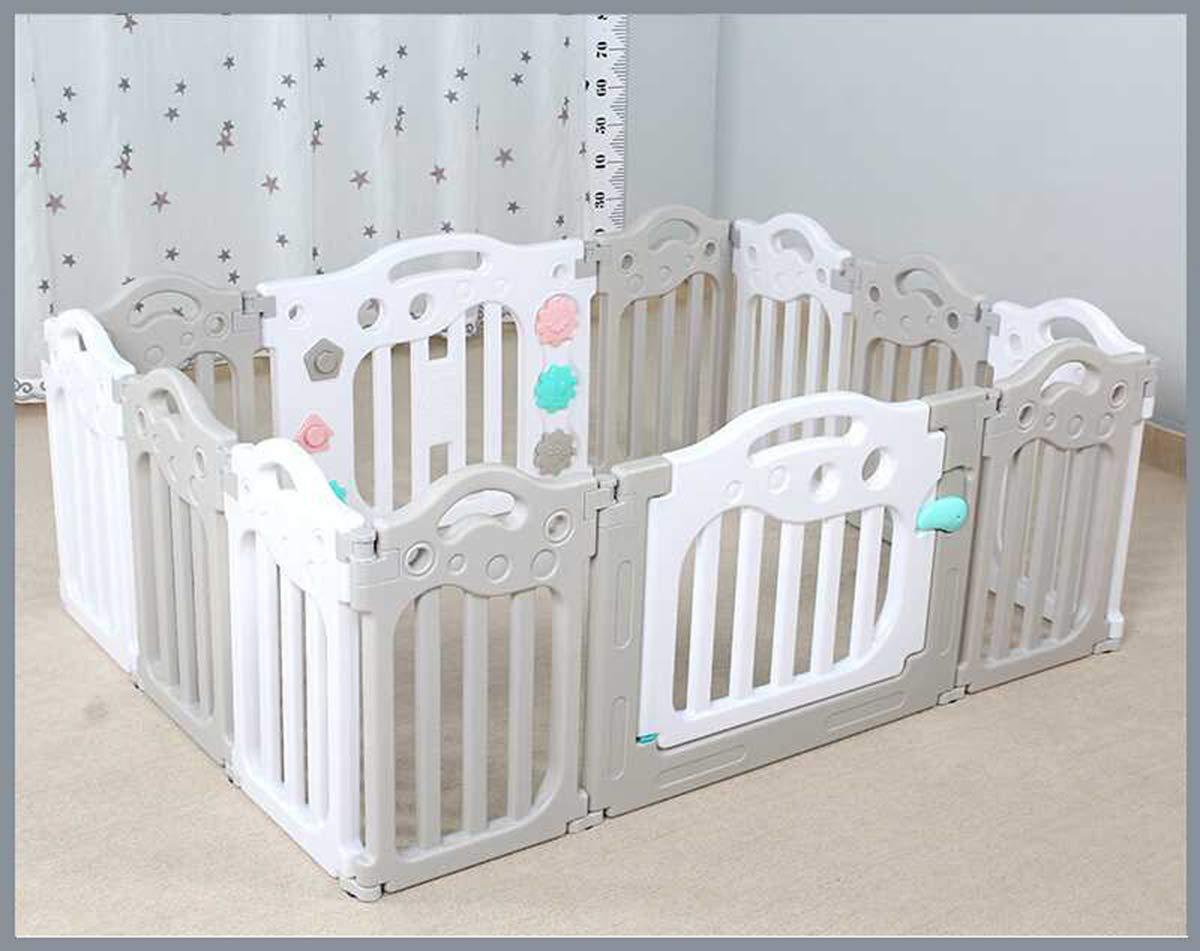 JUN GUANG Bianco grigiastro Bambini Gioco recinto Baby Box Interni Uso Esterno-Forte, Facile da Montare,A