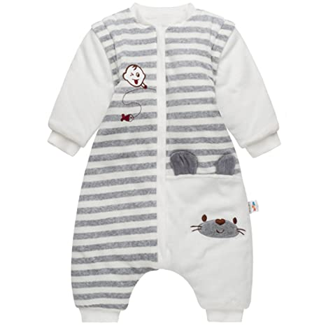 3456addcd Bebé Saco de Dormir con Piernas Separable Algodón 3.5 Tog Invierno Bolsa de  Dormir Mangas Larga