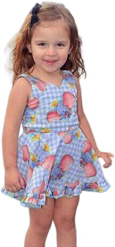 Yoyorule Baby Girls Dress Cartoon Elephant Print Plaid Sleeveless Dresses