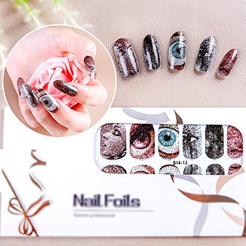 Make Your Own Halloween Costume Last Minute (Nail Foils Halloween Eye Pattern 10 Fake Long Nails Full Coverage Mixed Assorted Style)