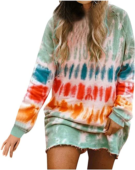 March9 Women/'s Casual Tie Dye Print Hoodie Long Sleeve Loose Pullover Sweatshirt Color Block Tunic Tops with Pocket