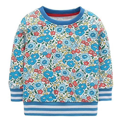 Dutebare Little Girls Crewneck Sweatshirts Toddler Cotton Cute Cartoon Long Sleeve Pullover Tops Blue 5