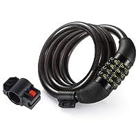 Lypumso Cadenas de Vélo, Câble de Sécurité Antivol Meilleure Combinaison pour L'extérieur de Vélos, avec 5 Chiffres Intelligente Code et Vélo Titulaire (Couleur Noir)