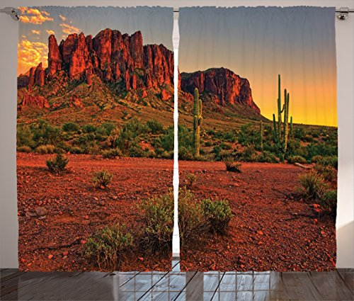 Ambesonne Saguaro Cactus Decor Collection, Colorful Sunset View of the Desert and Mountains near Phoenix Arizona USA Image, Living Room Bedroom Curtain 2 Panels Set, 108 X 90 Inches, Brown Green