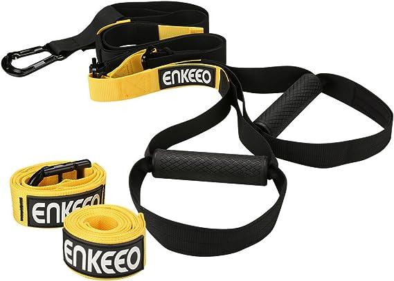 Enkeeo - Juego de Entrenamiento en Suspensión Profesional, Cuerdas Correas de Suspensión (Accesorios complementarios, Capacidad Límite hasta 400kg, ...