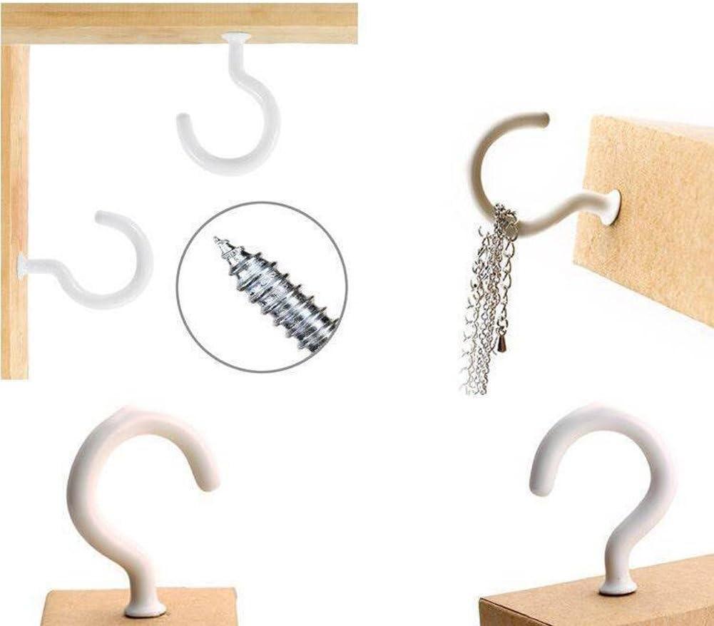 soporte para llaves taza de escritorio color blanco con tornillos para colgar en el techo 10 ganchos con forma de marca de preguntas para Kicthen y la escuela.