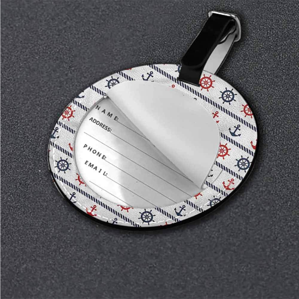Round Luggage Tags Anchor,Anchor Corals Seaweed Holder Portable Label