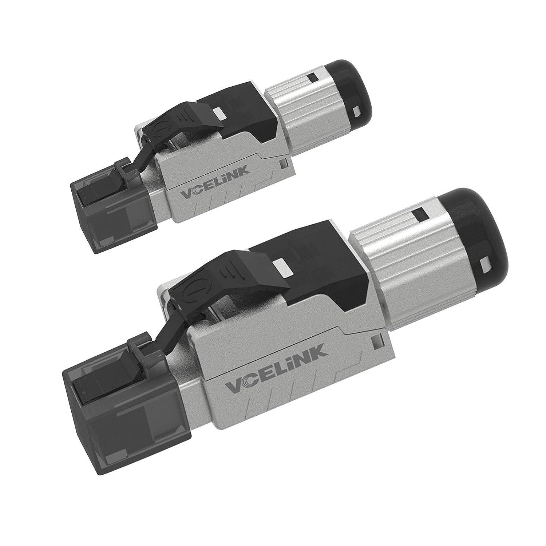 VCELINK Conector RJ45 sin Herramienta Conector RJ45 Cat 7 Blindado para Cable Ethernet Cat7 Cat6A, 23AWG, 10 GBit/s, 600 MHz, 2 Unidades