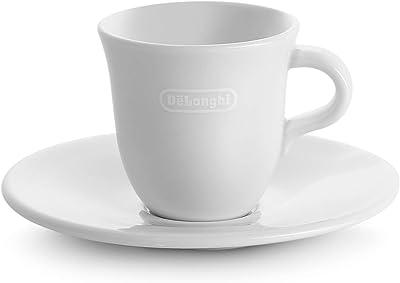 De'Longhi Espressotassen Set aus Porzellan – 2 handgemachte Keramik Tassen mit Untertassen
